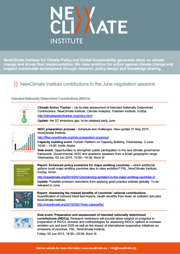 Download the NewClimate contributions and events for the Bonn conference